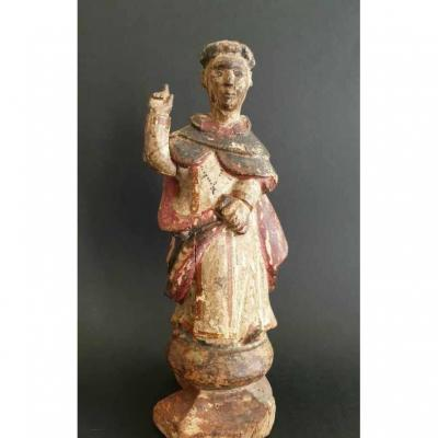 Statue Representing A Monk In Polychrome Wood Period Late XVIII Th Century