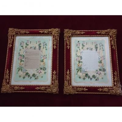 Two Frame Canons Of Velvet And Golden Stucco Altars Late Nineteenth Century