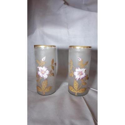 Paire De Vases Cylindriques Legras