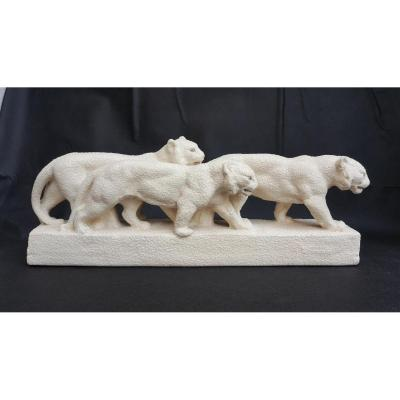 Group Of Tigers, Ceramic, Signed Odyv