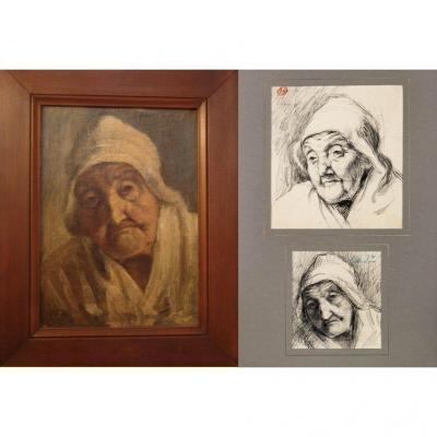 Charles Guérin Portrait De Catherine Gallier Pour Son Centenaire
