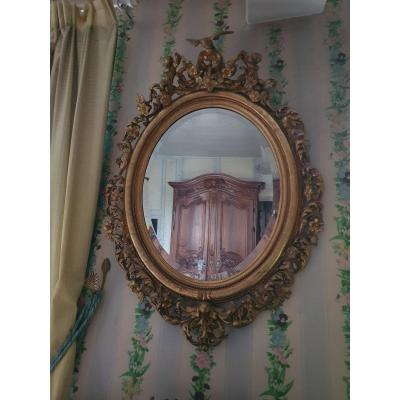 Large Napoleon III Oval Mirror