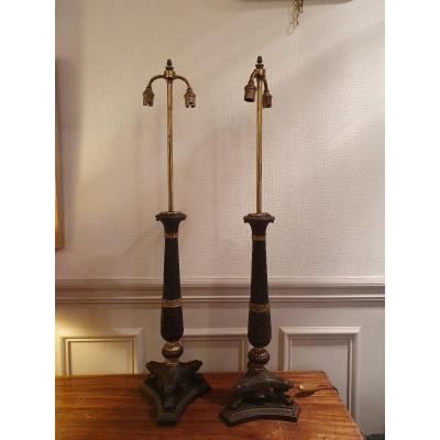 Pair Of Candlesticks Mounted In Restoration Period Lamps