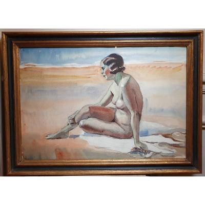 Nude At The Beach, Watercolor And Pencil, 1930s