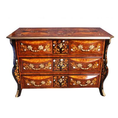 Rare Mazarine Commode In Jasmine Period XIX