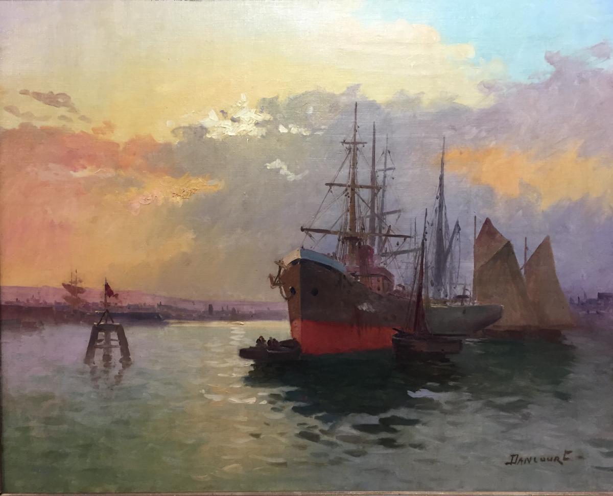 Tableau, Peinture, Marine, Port