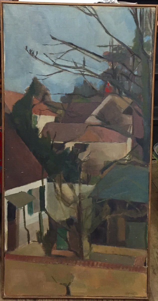 Painting, Landscape And Village Signed Colette Levine