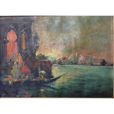 Tableau, Venise la lagune, Peinture de Minalono N.