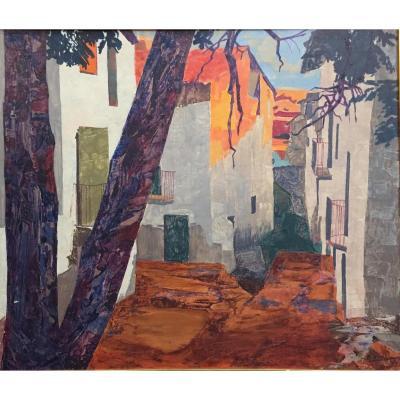 Tableau, Peinture de Bernardo Ylla, village Méditerranéen