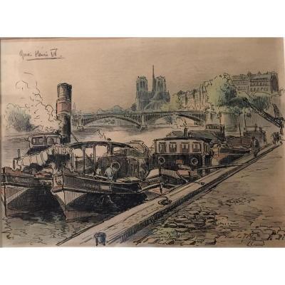Tableau, Encre De Chine et Aquarelle, Paris, Notre Dame et Péniches sur Seine