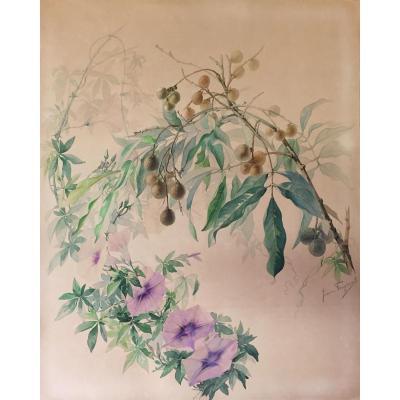 Tableau, Aquarelle Fleurs Et Branchages de Jeanne Fougerat