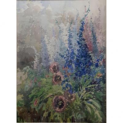 Original Watercolor, Flowers Delphynium De Moretti