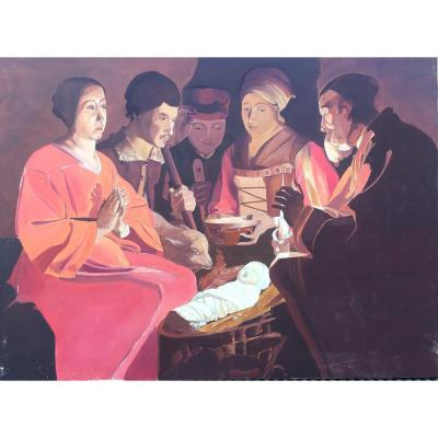 Tableau, Peinture Signée Guy Chavardès, Scène religieuse