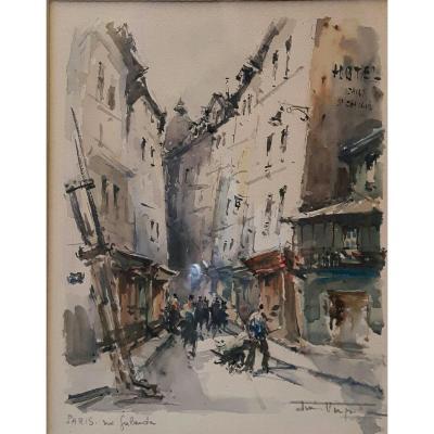 Watercolor, View Paris Street