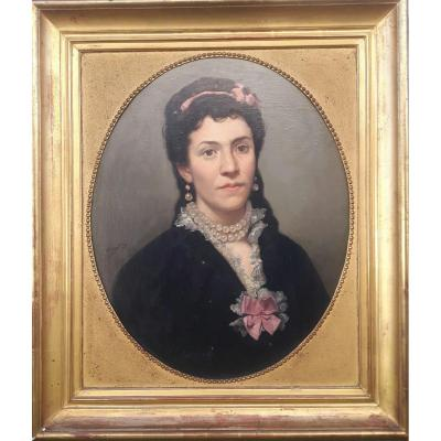 Painting,  Portrait Elegant Woman Signed Marsal