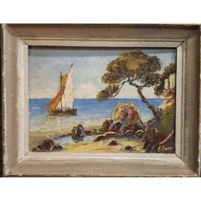 Tableaux, duo de peintures, Marine et paysage de la Cote d'azur