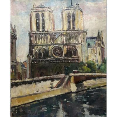 Painting Of Paul Petit, Notre Dame Of Paris