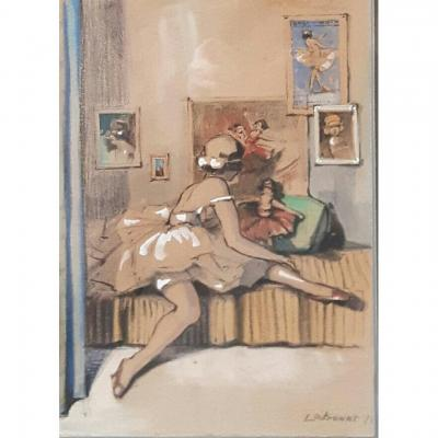 Watercolor, Ballerina With A Doll, Signed Potronat