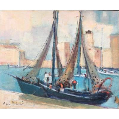 Painting,  Boats In Port, By José Astrié