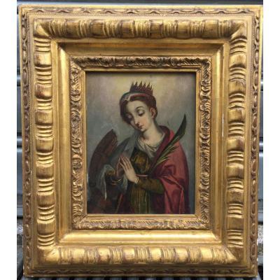 Tableau, Huile Sur Cuivre, Portrait De Sainte Catherine d'Alexandrie