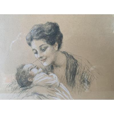 Vincent Anglade Henri Born In 1876 - 1956 Drawing Woman And Child