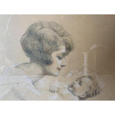 Vincent Anglade Henri Born 1876 - 1956 Drawing Woman And Child