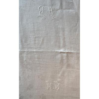 Damask Cotton Tablecloth With 2 Monograms Hb 1900