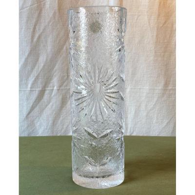 Vase En Cristal De Bohême à Décor De Fleurs XX ème