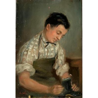 J JOLY  Tableau peinture sur bois