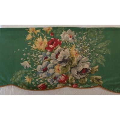 Large Flowered Valance On Green Background XXth