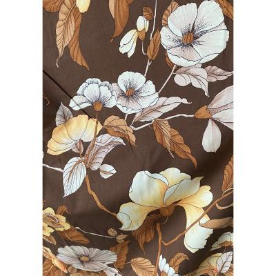 Pair Of Drapes Or Cotton Curtains With Floral Decor XXth
