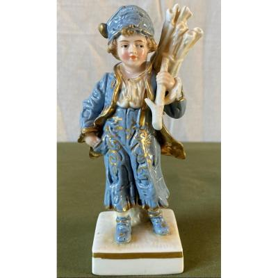 Figurine Subject Porcelain From Saxony Young Boy With Fagot XIX