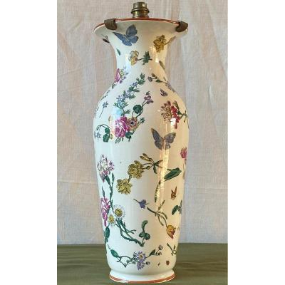 Large Vase Lamp Decorated With Flowers And Insects XIX