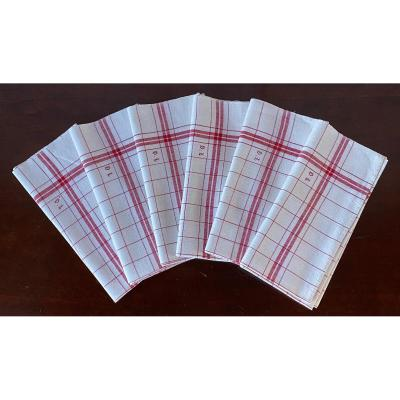 6 Old Linen Tea Towels With Monogrammed Red Liteaux Dl