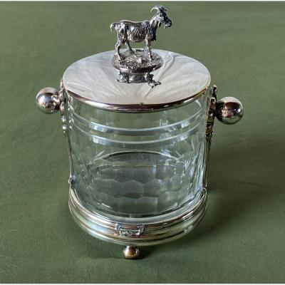 Confiturier Or Sugar Bowl In Crystal And Silver Metal Nineteenth