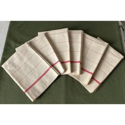 6 Old Linen Tea Towels With Red Stripes And Stripes