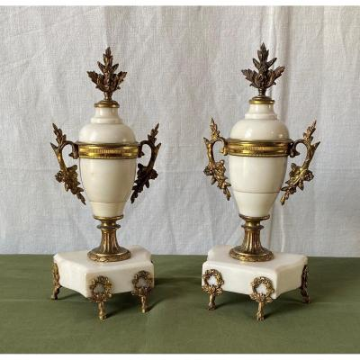 Pair Of Vases Or Cassolettes In White Marble And Bronze Louis XVI Style