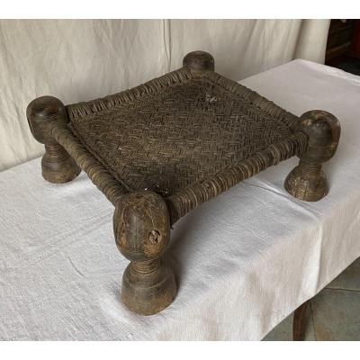 Stool Or Footrest In Carved Wood And Braided Leather XIX.