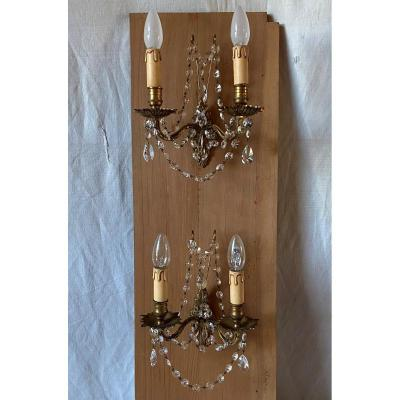 Pair Of Gilt Bronze Sconces With Tassels XXth