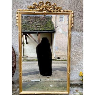 Louis XVI Style Mirror In Golden Wood 176x109cm