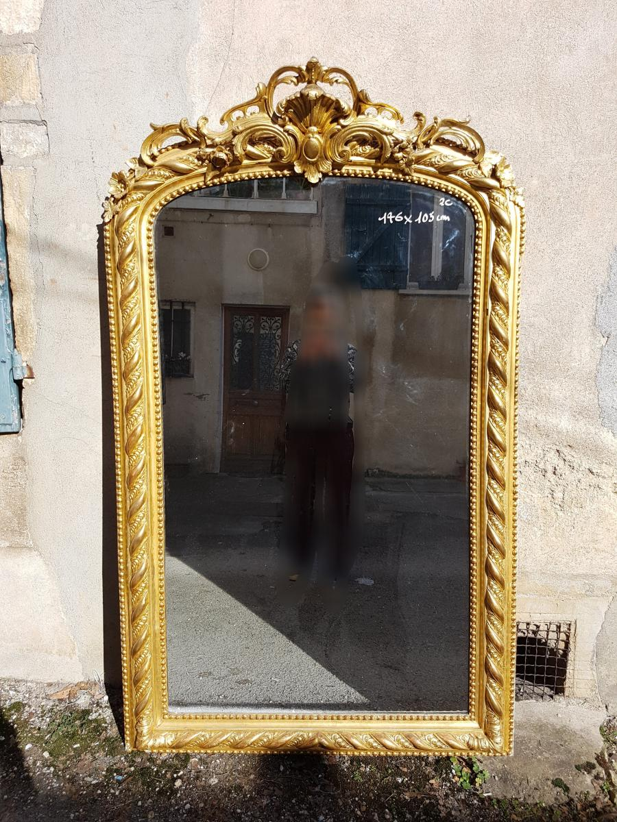 Louis-philippe Mirror In Gilded Wood 176x105cm