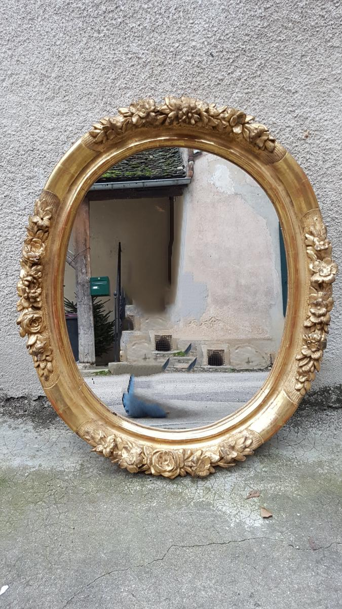 Oval Mirror In Gilded Wood Carved Nineteenth 89x75cm