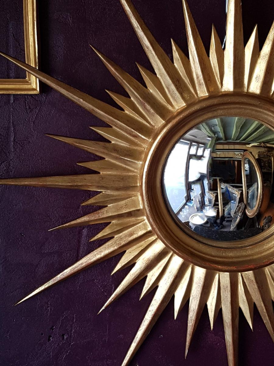 Witch Mirror Sun Shape Golden Wood 65cm