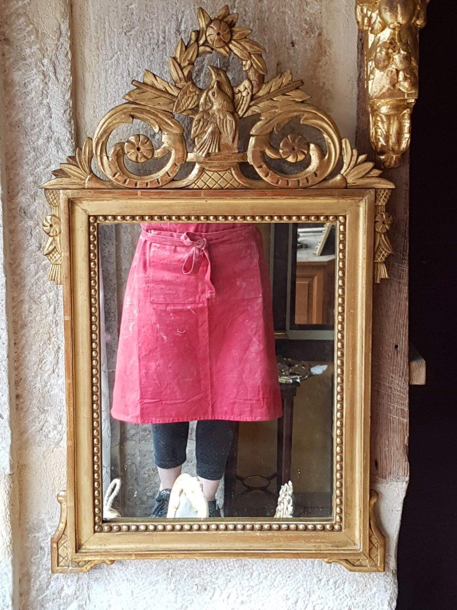 Louis XVI Style Mirror In Golden Wood 70x42cm