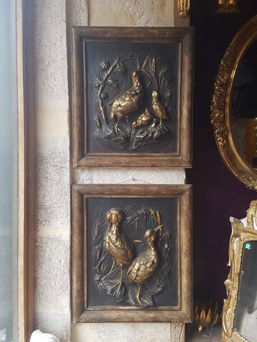 Paire De Bas-relief à Décor d'Oiseaux