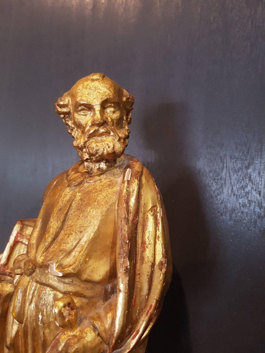Statue In Golden Wood Of Saint-pierre