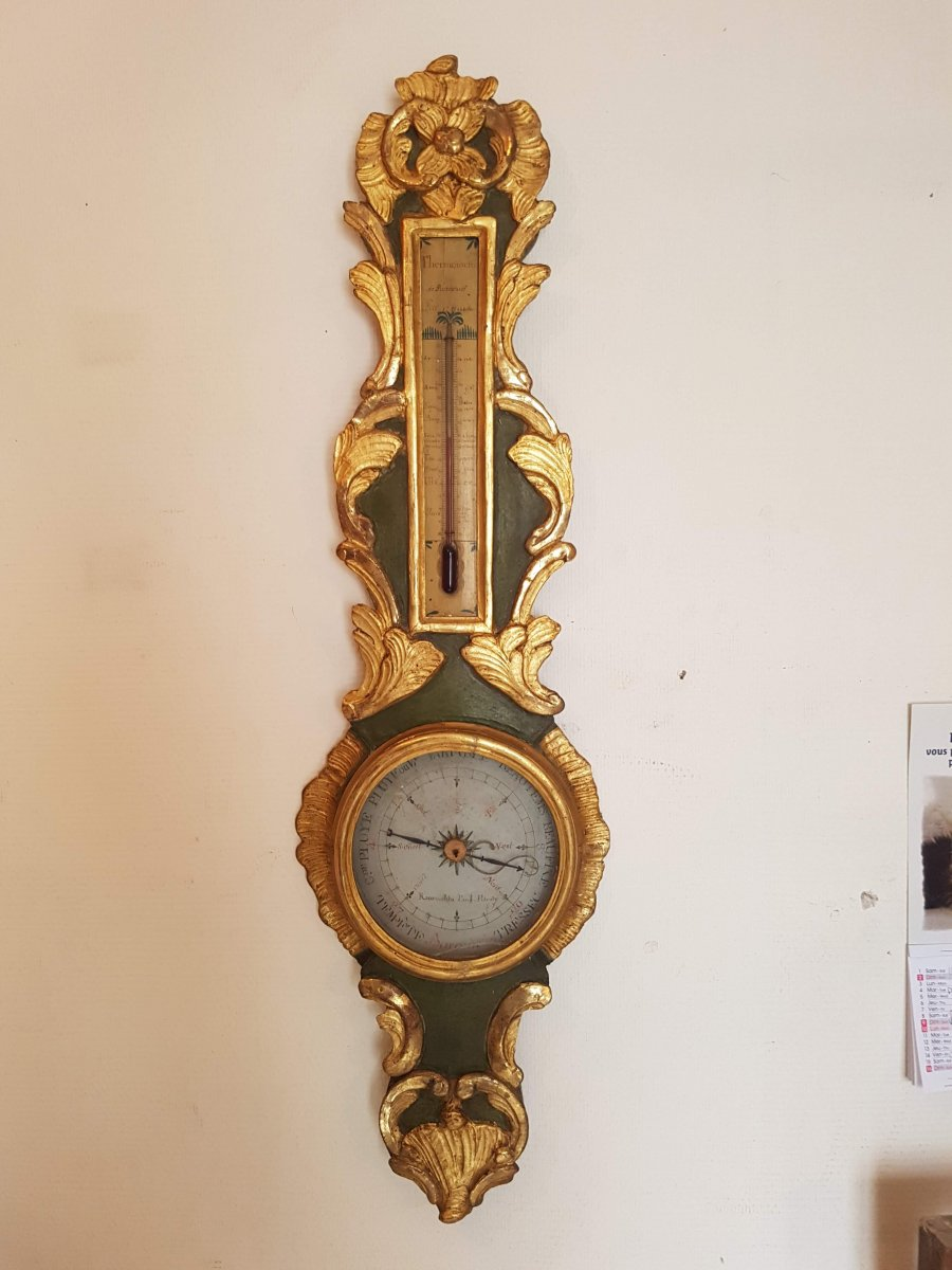 Barometer Louis XV In Golden And Lacquered Wood