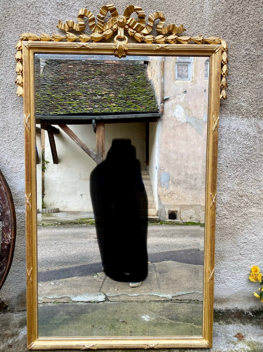 Miroir De Style Louis XVI En Bois Doré 176x109cm