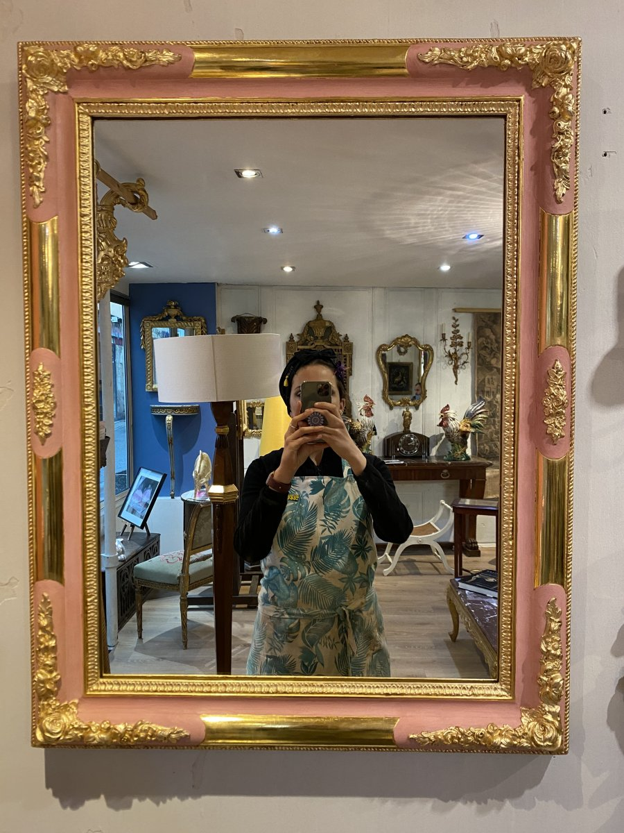 Gold Leaf Mirror With Pink Lacquer