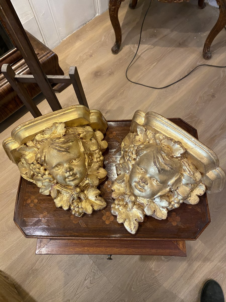 Pair Of Golden Wall Console